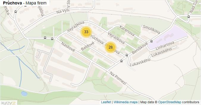 Průchova - mapa rozložení firem v ulici.