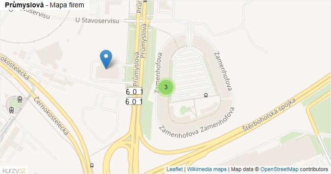 Průmyslová - mapa rozložení firem v ulici.