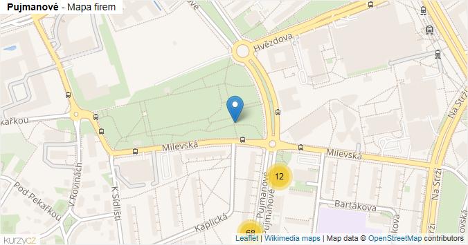 Pujmanové - mapa rozložení firem v ulici.
