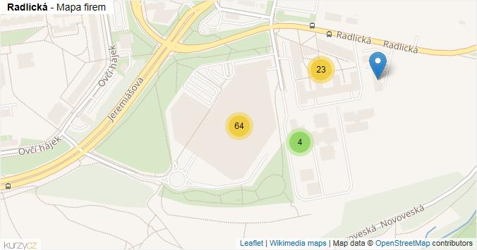 Radlická - mapa rozložení firem v ulici.