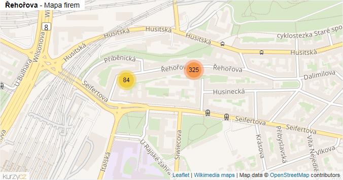 Řehořova - mapa rozložení firem v ulici.