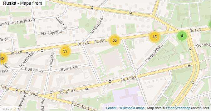 Ruská - mapa rozložení firem v ulici.
