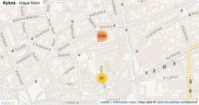 Rybná - mapa rozložení firem v ulici.