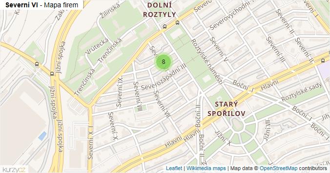 Severní VI - mapa rozložení firem v ulici.