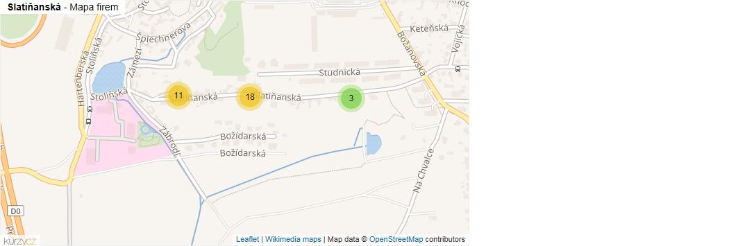 Slatiňanská - mapa rozložení firem v ulici.