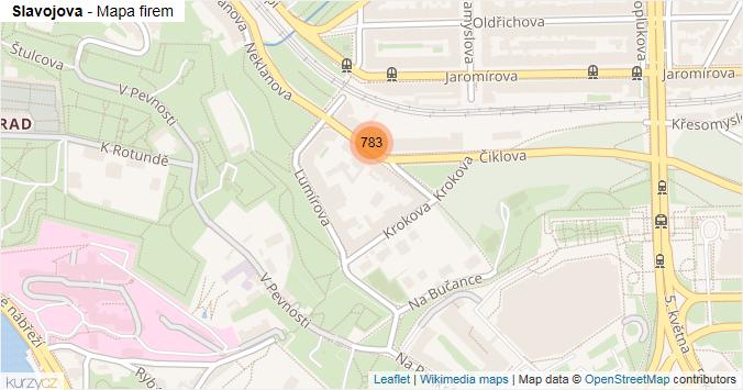 Slavojova - mapa rozložení firem v ulici.