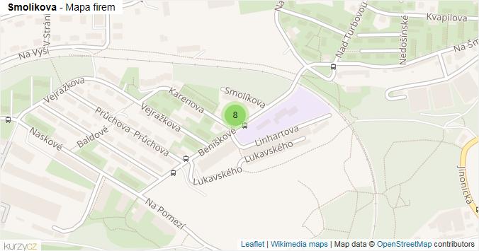 Smolíkova - mapa rozložení firem v ulici.