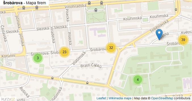 Šrobárova - mapa rozložení firem v ulici.