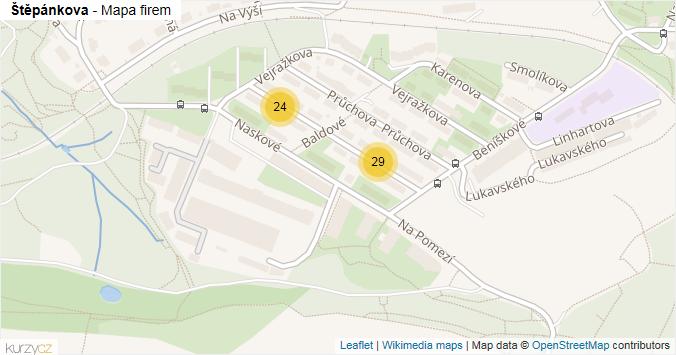 Štěpánkova - mapa rozložení firem v ulici.