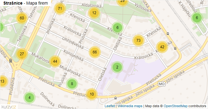 Strašnice - mapa rozložení firem v části obce.