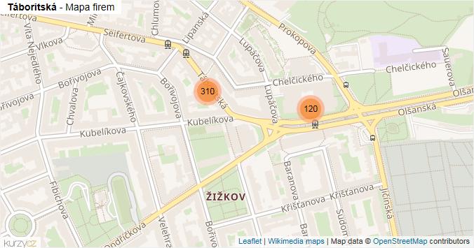 Táboritská - mapa rozložení firem v ulici.