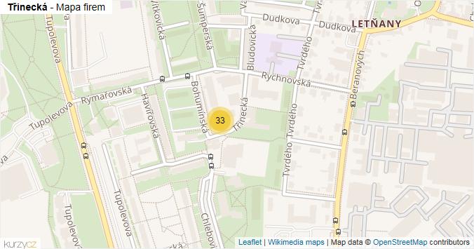Třinecká - mapa rozložení firem v ulici.