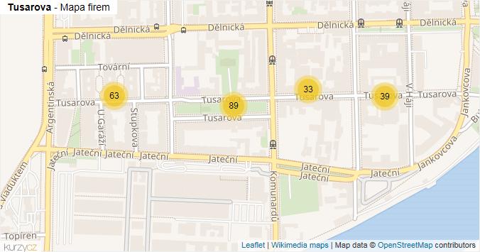 Tusarova - mapa rozložení firem v ulici.