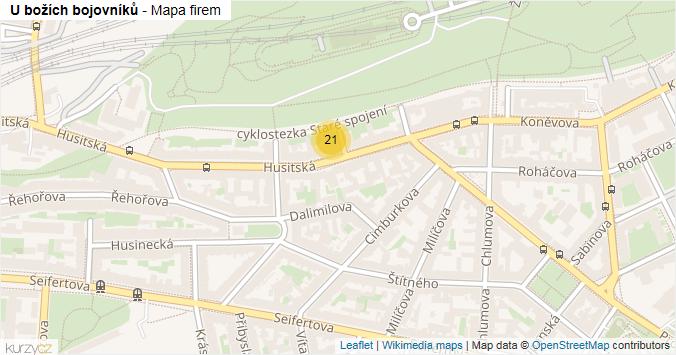 U božích bojovníků - mapa rozložení firem v ulici.