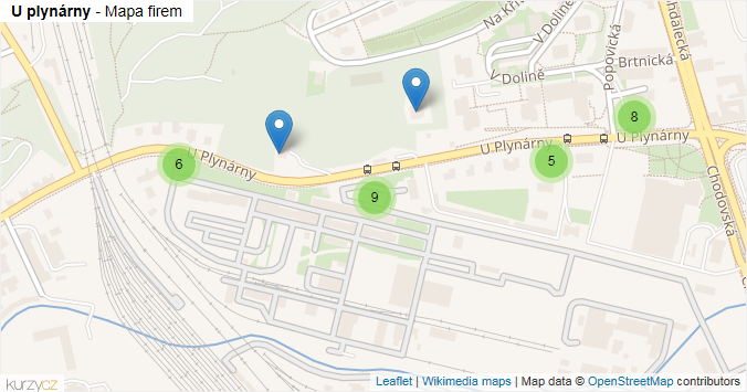 U plynárny - mapa rozložení firem v ulici.