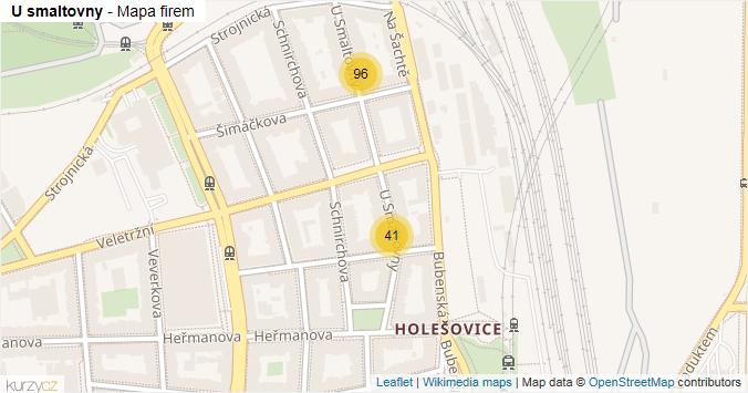 U smaltovny - mapa rozložení firem v ulici.