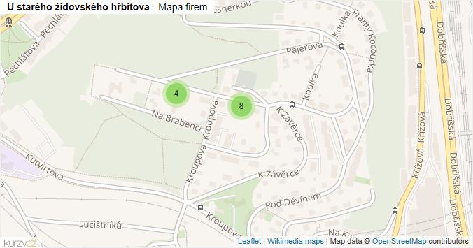 U starého židovského hřbitova - mapa rozložení firem v ulici.