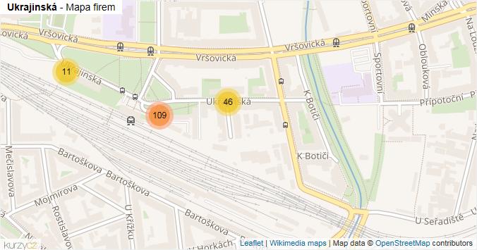 Ukrajinská - mapa rozložení firem v ulici.