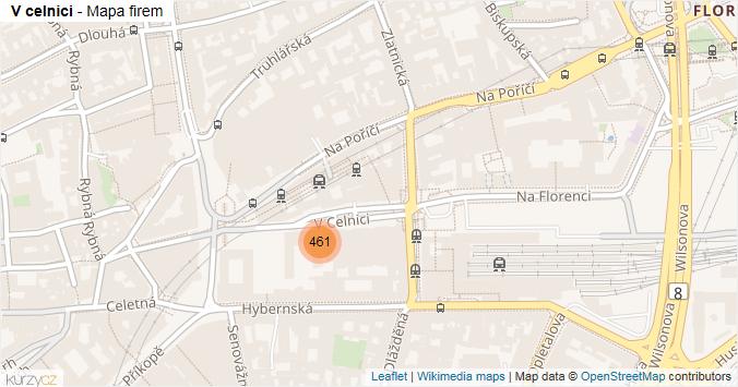 V celnici - mapa rozložení firem v ulici.