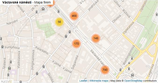 Václavské náměstí - mapa rozložení firem v ulici.
