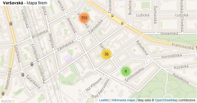 Varšavská - mapa rozložení firem v ulici.