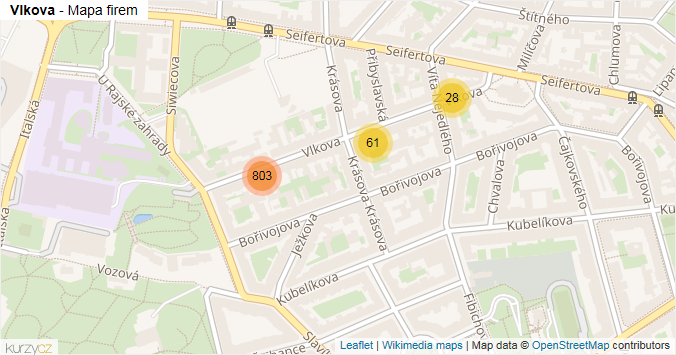 Vlkova - mapa rozložení firem v ulici.
