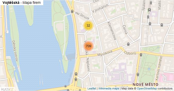 Vojtěšská - mapa rozložení firem v ulici.