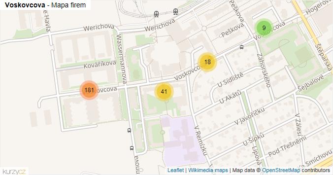 Voskovcova - mapa rozložení firem v ulici.
