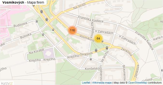 Vosmíkových - mapa rozložení firem v ulici.
