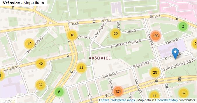 Vršovice - mapa rozložení firem v části obce.