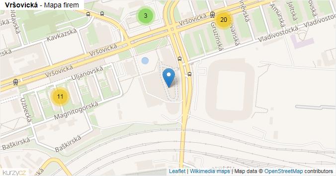 Vršovická - mapa rozložení firem v ulici.