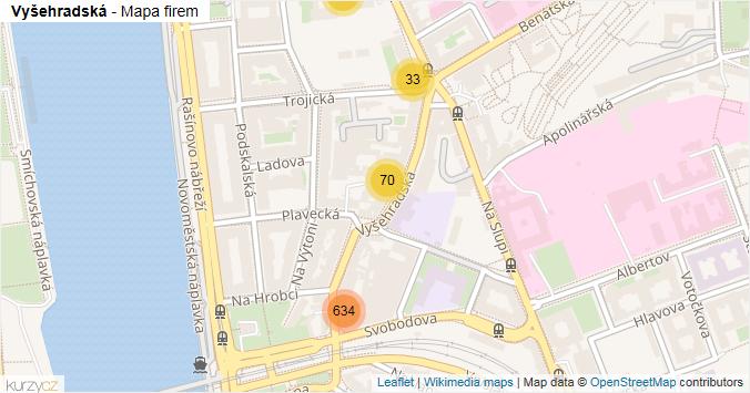 Vyšehradská - mapa rozložení firem v ulici.