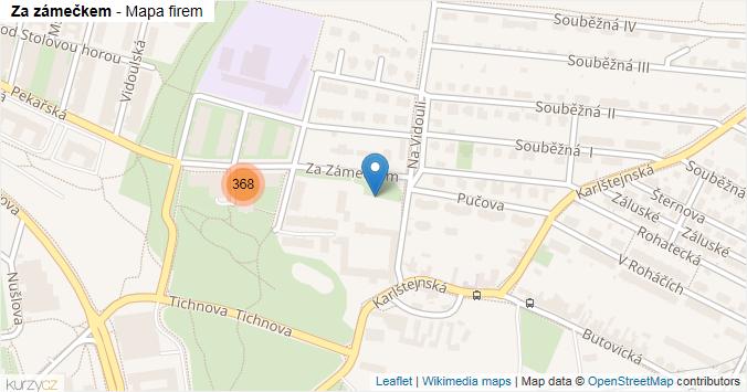 Za zámečkem - mapa rozložení firem v ulici.