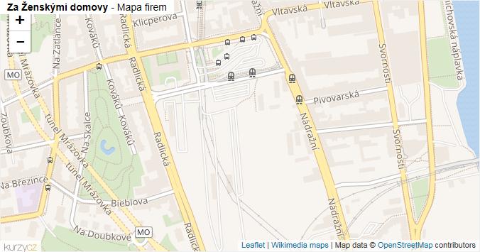 Za Ženskými domovy - mapa rozložení firem v ulici.