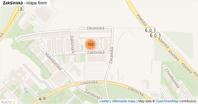 Zakšínská - mapa rozložení firem v ulici.