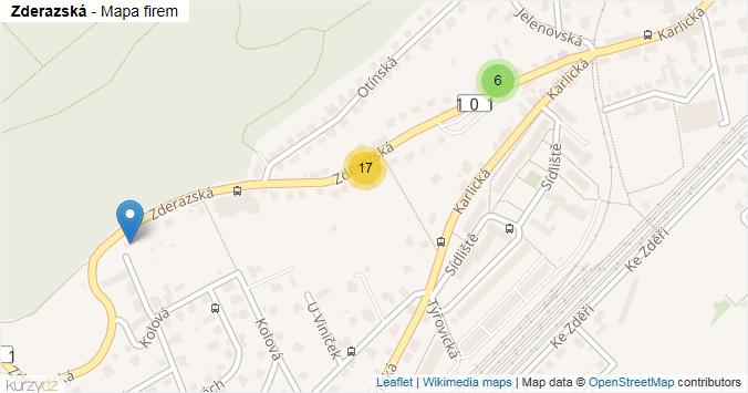 Zderazská - mapa rozložení firem v ulici.