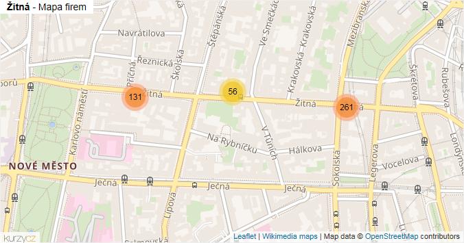 Žitná - mapa rozložení firem v ulici.