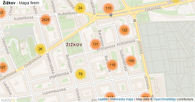 Žižkov - mapa rozložení firem v části obce.