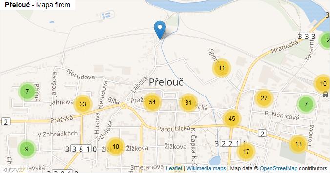 Přelouč - mapa rozložení firem v obci.