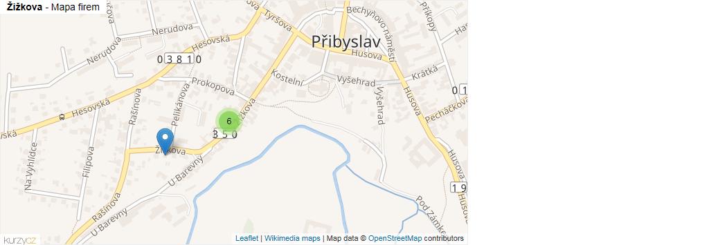 Žižkova - mapa rozložení firem v ulici.