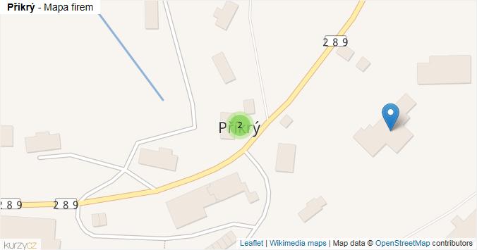 Příkrý - mapa rozložení firem v obci.