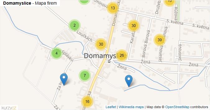 Domamyslice - mapa rozložení firem v části obce.