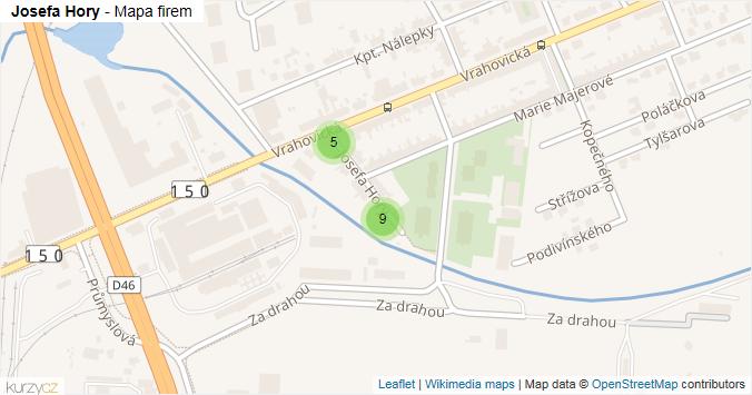 Josefa Hory - mapa rozložení firem v ulici.