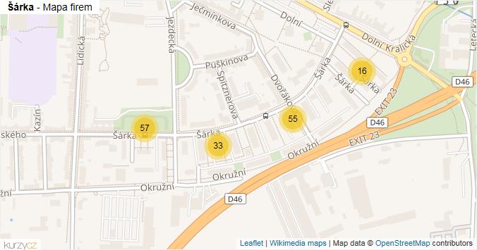 Šárka - mapa rozložení firem v ulici.