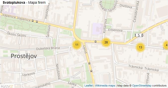Svatoplukova - mapa rozložení firem v ulici.