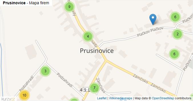 Prusinovice - mapa rozložení firem v obci.