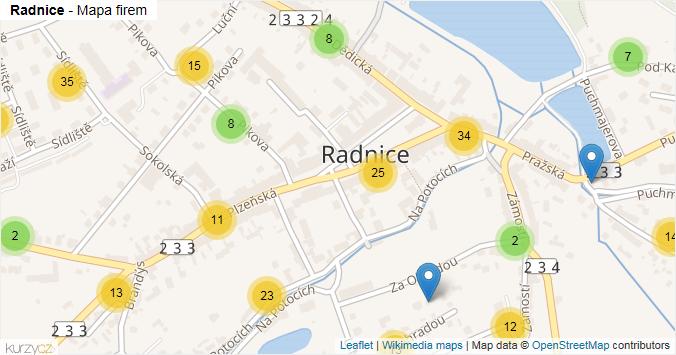 Radnice - mapa rozložení firem v obci.