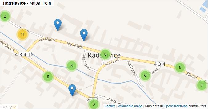Radslavice - mapa rozložení firem v obci.