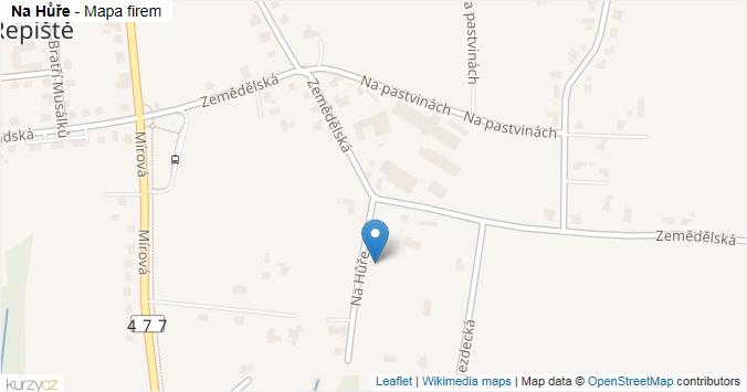 Na Hůře - mapa rozložení firem v ulici.