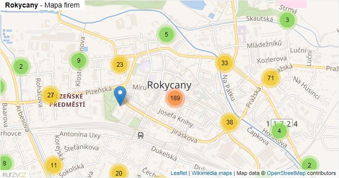 Rokycany - mapa rozložení firem v obci.